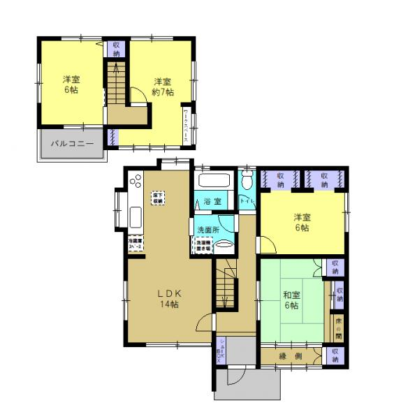 【リフォーム中】14畳のLDK、1坪サイズのユニットバス、キッチンと廊下から出入りができる洗面所、縁側のある1階の和室が魅力の4LDKの住宅です。